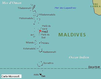 Carte Asie Maldives.Situation Geographique Maldives